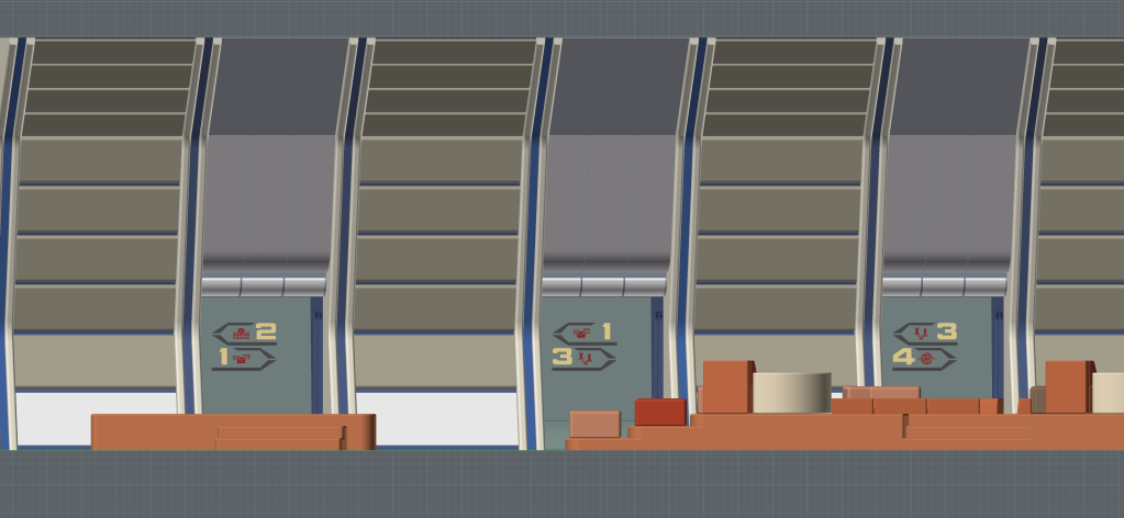 Port side elevation of the recreation deck, showing the directional graphics in the three port side alcoves. (Image: Third Wave Design)
