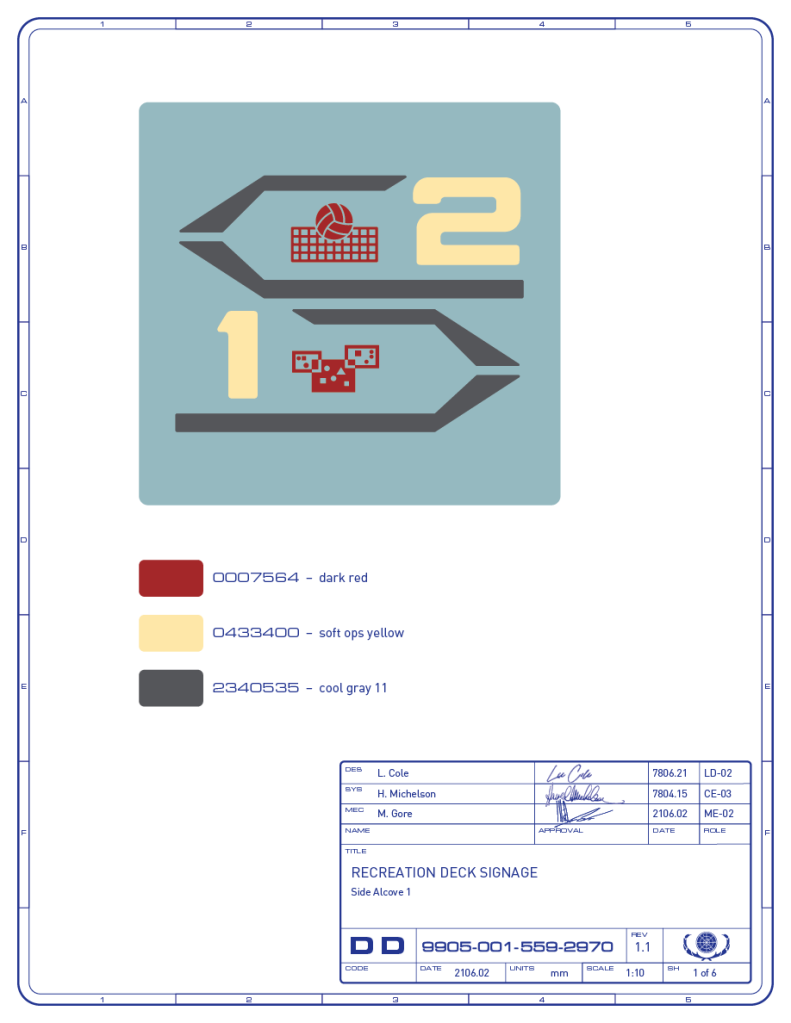 Detail drawing of the directional signage for the volleyball and light cube game areas on the recreation deck of the Enterprise-refit. (Image: Third Wave Design)