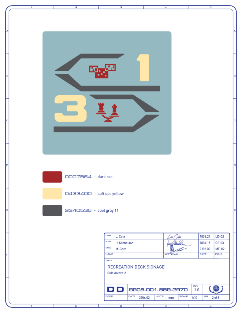Detail drawing of the directional signage for the light cube game and tri-dimensional chess areas on the recreation deck of the Enterprise-refit. (Image: Third Wave Design)