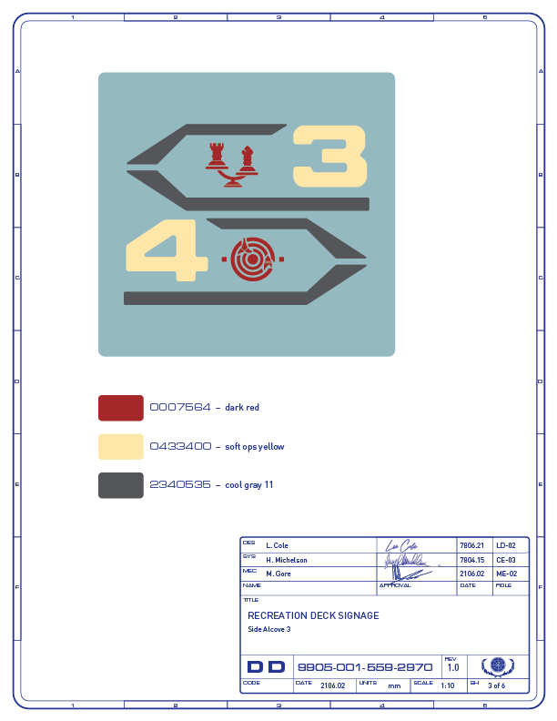 Detail drawing of the directional signage for the tri-dimensional chess and phaser battle game areas on the recreation deck of the Enterprise-refit. (Image: Third Wave Design)