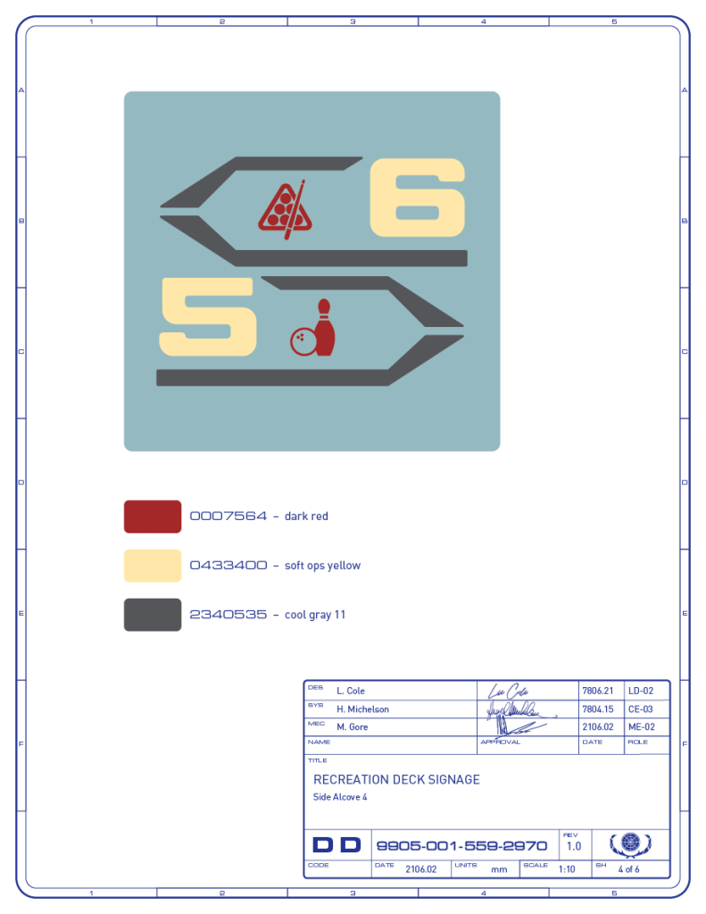 Detail drawing of the directional signage for the billiards and bowling areas on the recreation deck of the Enterprise-refit. (Image: Third Wave Design)