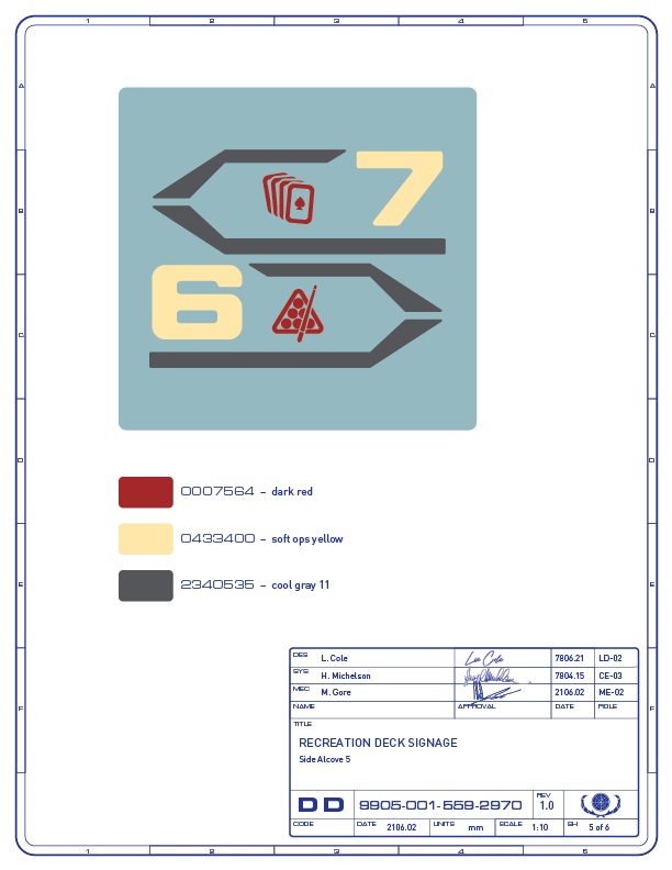 Detail drawing of the directional signage for the card game and billiards areas on the recreation deck of the Enterprise-refit. (Image: Third Wave Design)