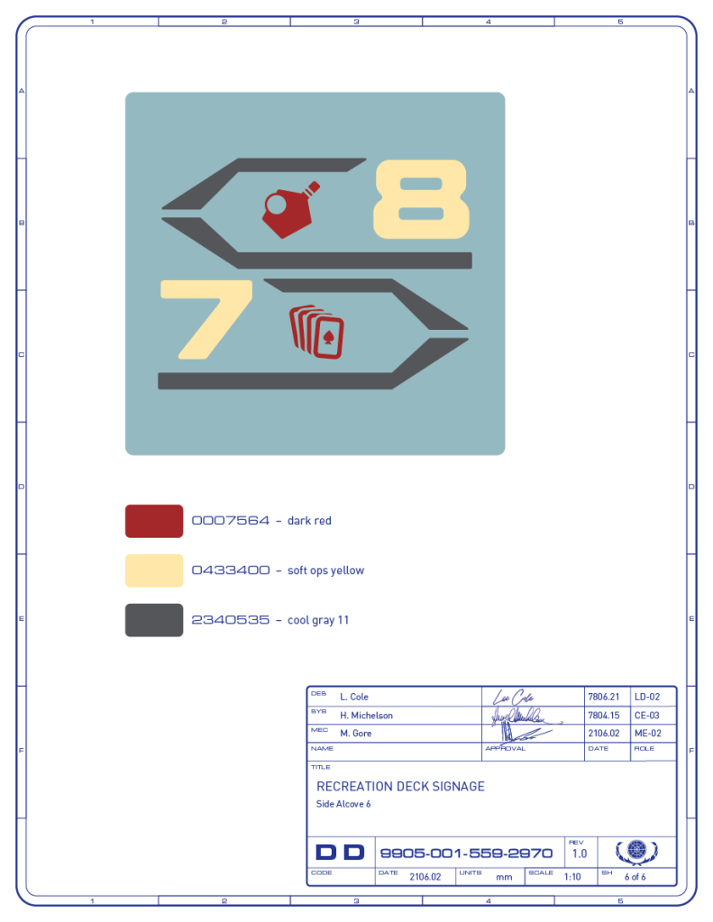 Detail drawing of the directional signage for the table-tennis and card game areas on the recreation deck of the Enterprise-refit. (Image: Third Wave Design)