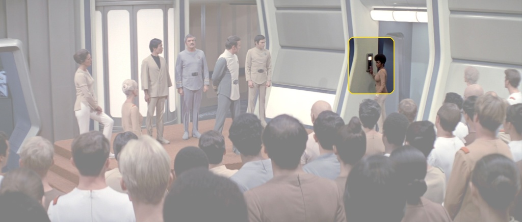 Scene from Star Trek: The Motion Picture where Lt. Commander Uhura activates the intercom panel on the recreation deck. (Image: Paramount Pictures)